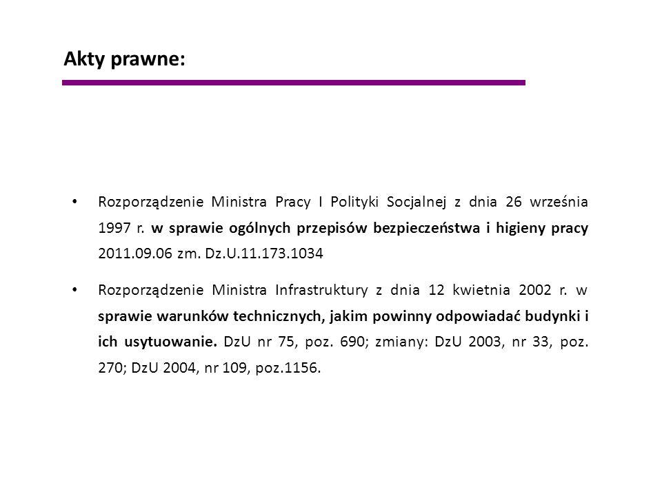 Rozporządzenie Ministra Pracy I Polityki Socjalnej z dnia 26 września 1997 r. w sprawie ogólnych przepisów bezpieczeństwa i higieny pracy 2011.09.06 z