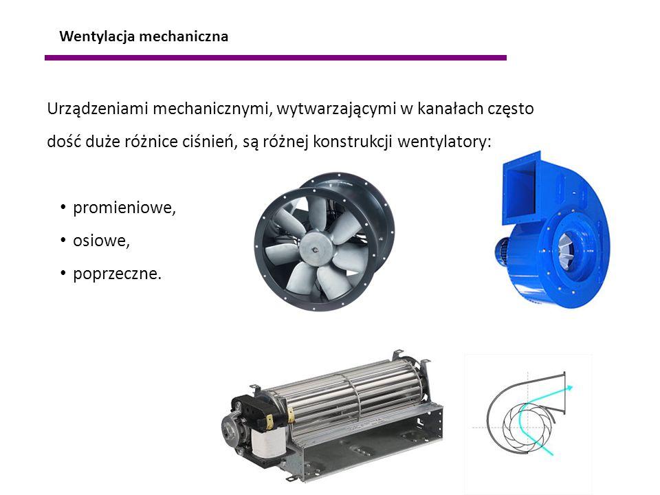 Urządzeniami mechanicznymi, wytwarzającymi w kanałach często dość duże różnice ciśnień, są różnej konstrukcji wentylatory: promieniowe, osiowe, poprze