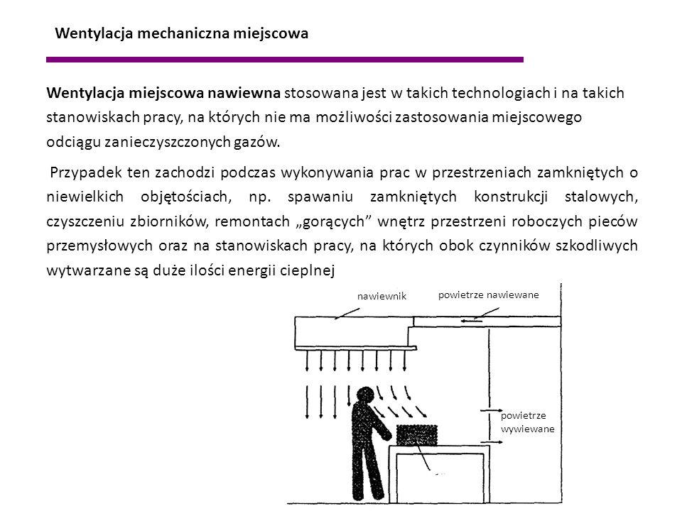 Wentylacja mechaniczna miejscowa Wentylacja miejscowa nawiewna stosowana jest w takich technologiach i na takich stanowiskach pracy, na których nie ma