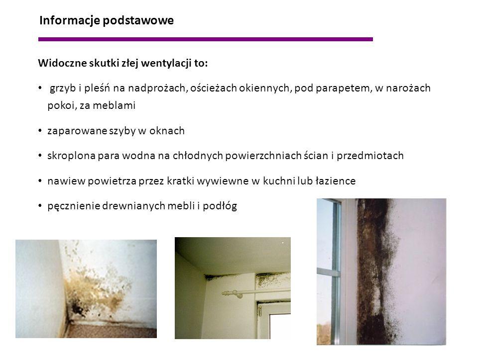 Widoczne skutki złej wentylacji to: grzyb i pleśń na nadprożach, ościeżach okiennych, pod parapetem, w narożach pokoi, za meblami zaparowane szyby w o