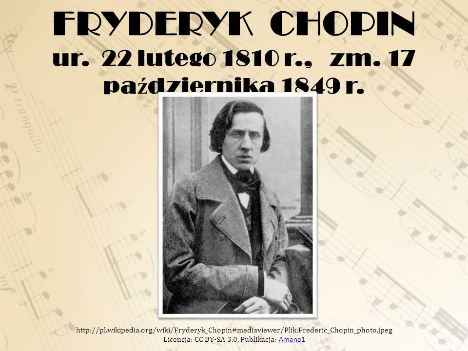 FRYDERYK CHOPIN ur.22 lutego 1810 r., zm. 17 pa ź dziernika 1849 r.