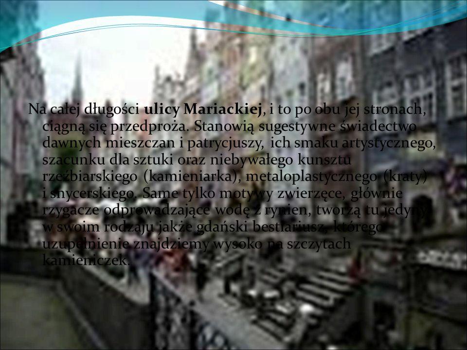Na całej długości ulicy Mariackiej, i to po obu jej stronach, ciągną się przedproża. Stanowią sugestywne świadectwo dawnych mieszczan i patrycjuszy, i