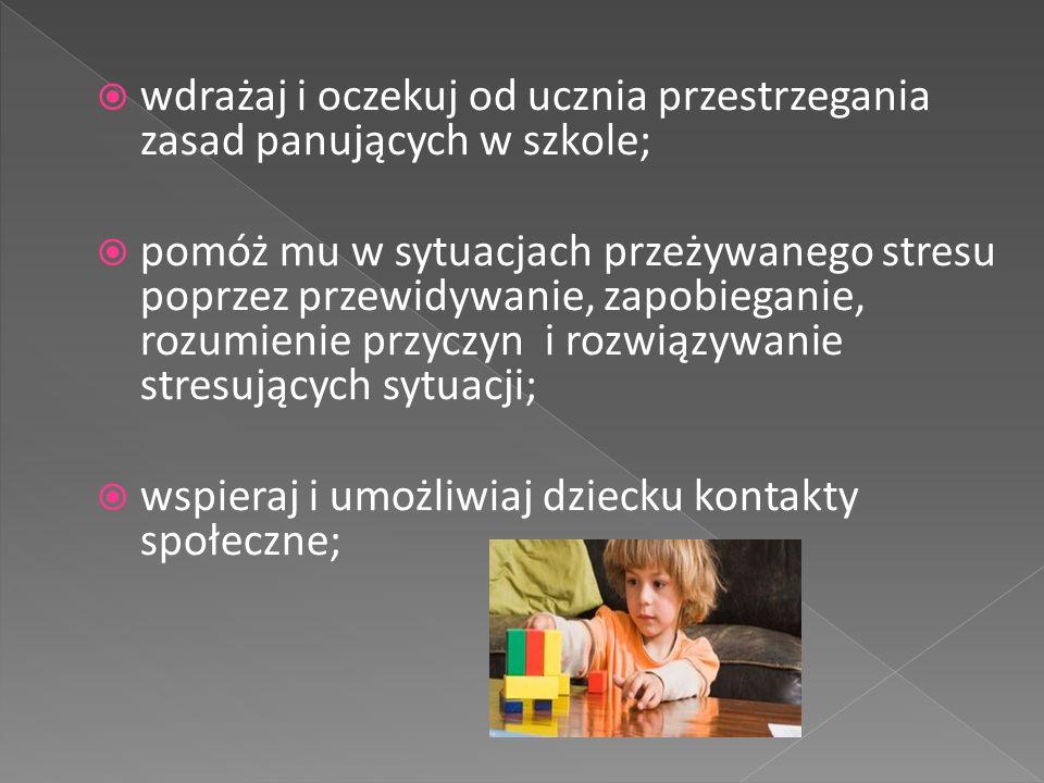  pamiętaj, że nie ma potrzeby wspierania ucznia w sferach, w których radzi sobie dobrze i stopniowo w tych obszarach ograniczaj udzielaną mu pomoc;  w ocenianiu oddzielaj te obszary, w których trudności wynikają z zaburzeń;  nie karz dziecka za objawy choroby;  chroń dziecko przed przemocą rówieśników.