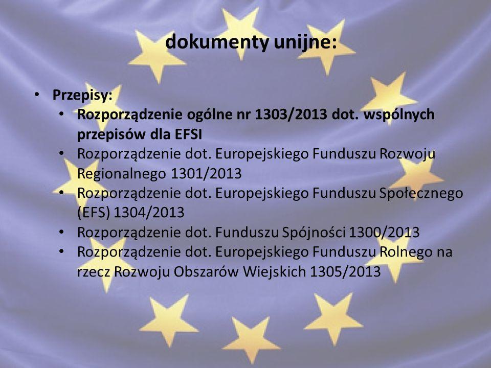 dokumenty unijne: akty delegowane: rozporządzenie delegowane Komisji 240/2014 w sprawie europejskiego kodeksu postępowania w zakresie partnerstwa w ramach europejskich funduszy strukturalnych i inwestycyjnych rozporządzenie delegowane Komisji 480/2014 dot.