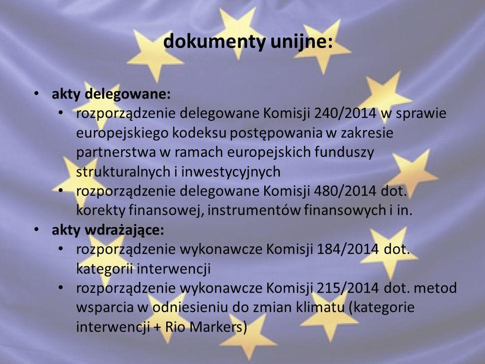 """dokumenty krajowe Umowa Partnerstwa pomiędzy Polską a Komisją Europejską ustawa """"wdrożeniowa z dnia 11 lipca 2014 o zasadach realizacji programów w zakresie polityki spójności finansowanych w perspektywie finansowej 2014–2020 wytyczne MIiR, m.in.: Wytyczne w zakresie realizacji zasady partnerstwa na lata 2014 – 2020 Wytyczne w zakresie komitetów monitorujących na lata 2014-2020 regulaminy Komitetów Monitorujących"""