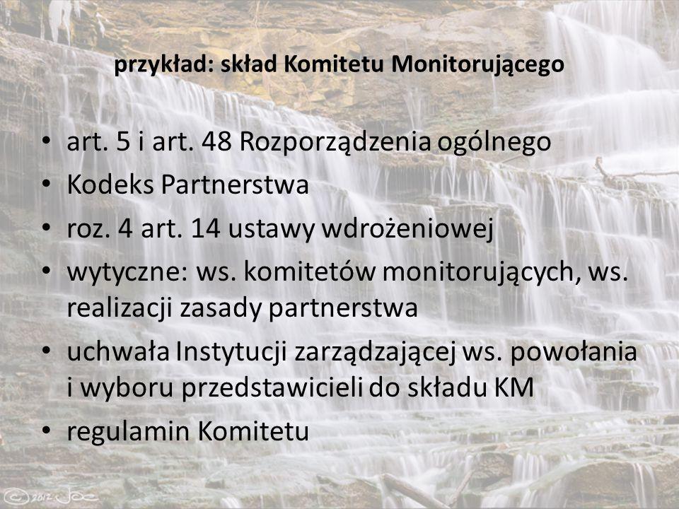 przykład: skład Komitetu Monitorującego art. 5 i art.