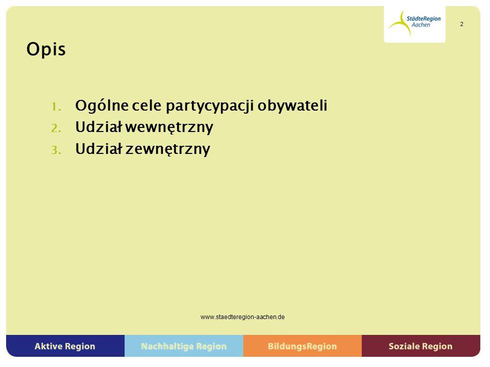 Opis 1. Ogólne cele partycypacji obywateli 2. Udział wewnętrzny 3. Udział zewnętrzny www.staedteregion-aachen.de 2