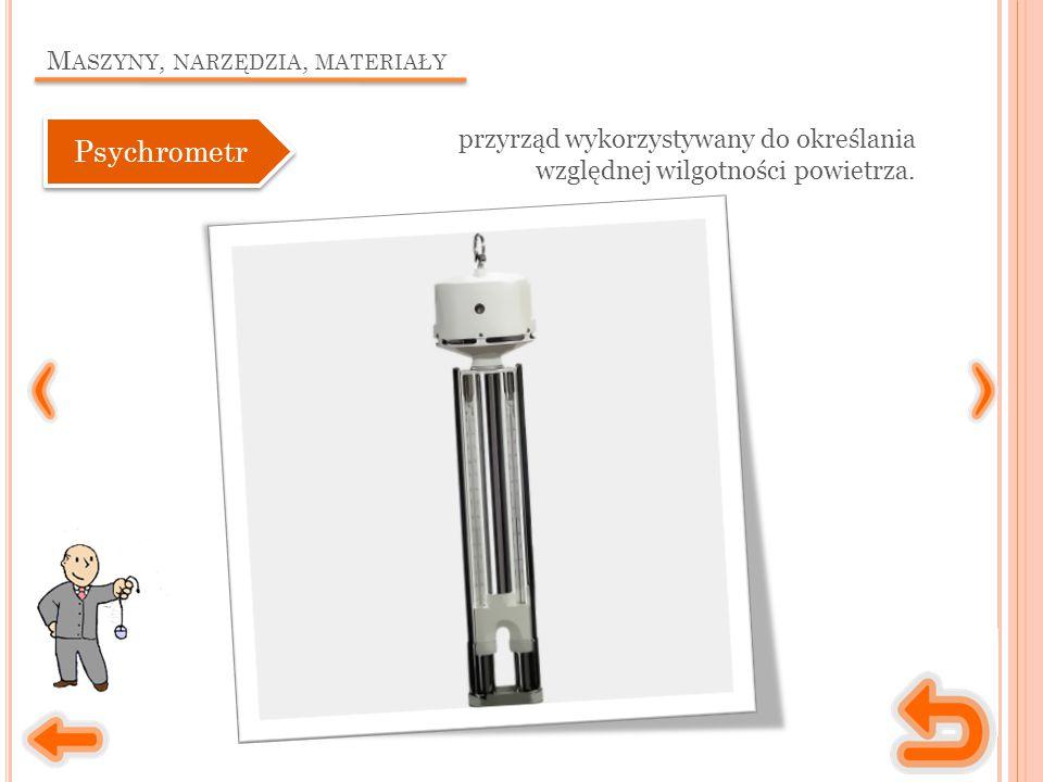 M ASZYNY, NARZĘDZIA, MATERIAŁY przyrząd wykorzystywany do określania względnej wilgotności powietrza.