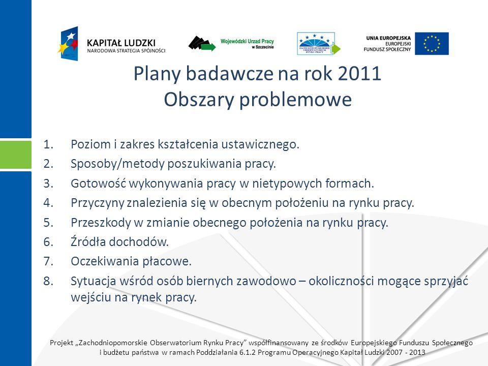 """Projekt """"Zachodniopomorskie Obserwatorium Rynku Pracy współfinansowany ze środków Europejskiego Funduszu Społecznego i budżetu państwa w ramach Poddziałania 6.1.2 Programu Operacyjnego Kapitał Ludzki 2007 - 2013 Plany badawcze na rok 2011 Obszary problemowe 1.Poziom i zakres kształcenia ustawicznego."""