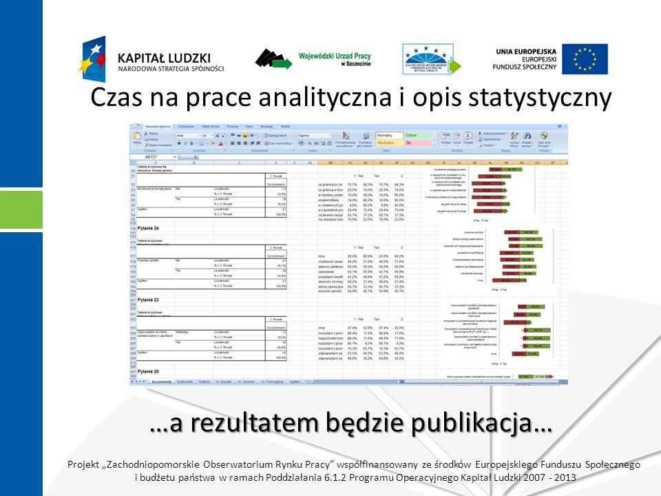 """Projekt """"Zachodniopomorskie Obserwatorium Rynku Pracy współfinansowany ze środków Europejskiego Funduszu Społecznego i budżetu państwa w ramach Poddziałania 6.1.2 Programu Operacyjnego Kapitał Ludzki 2007 - 2013 Czas na prace analityczna i opis statystyczny …a rezultatem będzie publikacja…"""