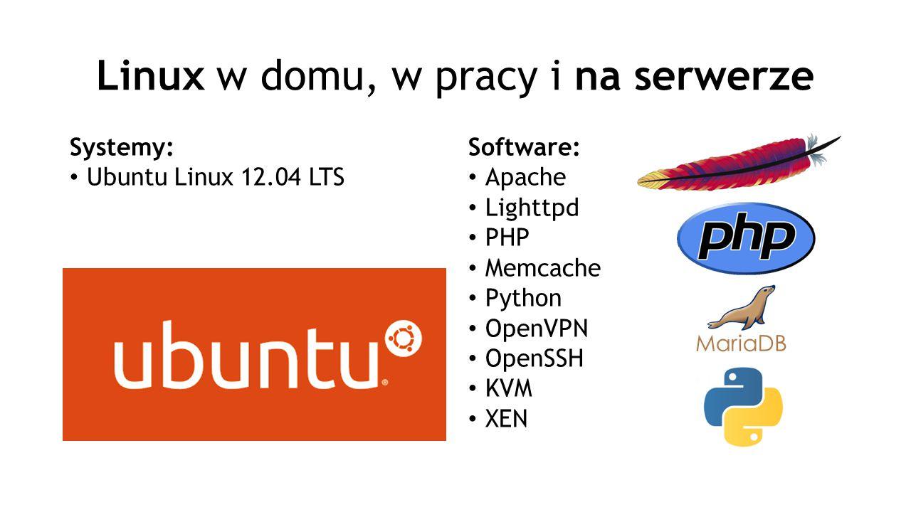 Linux w domu, w pracy i na serwerze Systemy: Ubuntu Linux 12.04 LTS Software: Apache Lighttpd PHP Memcache Python OpenVPN OpenSSH KVM XEN