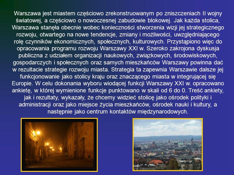 Warszawa jest miastem częściowo zrekonstruowanym po zniszczeniach II wojny światowej, a częściowo o nowoczesnej zabudowie blokowej. Jak każda stolica,