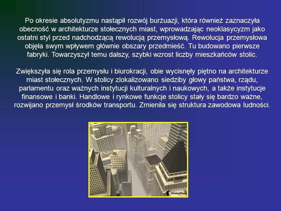 Po okresie absolutyzmu nastąpił rozwój burżuazji, która również zaznaczyła obecność w architekturze stołecznych miast, wprowadzając neoklasycyzm jako