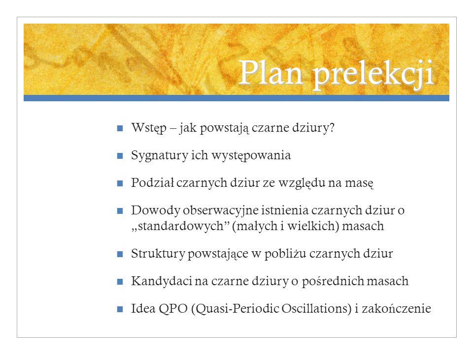Plan prelekcji Wst ę p – jak powstaj ą czarne dziury.