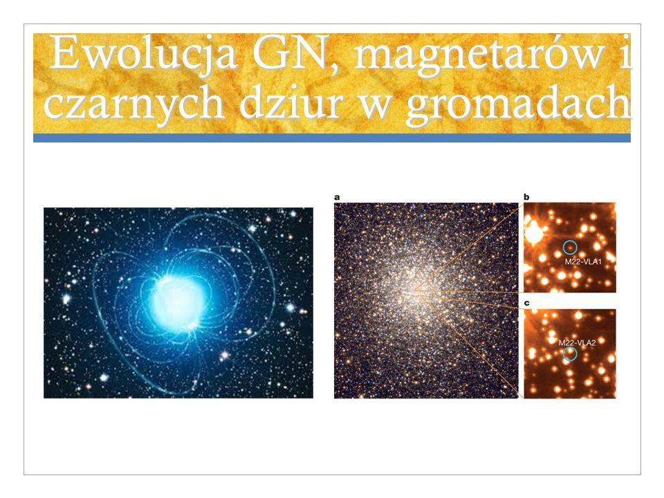 Ewolucja GN, magnetarów i czarnych dziur w gromadach