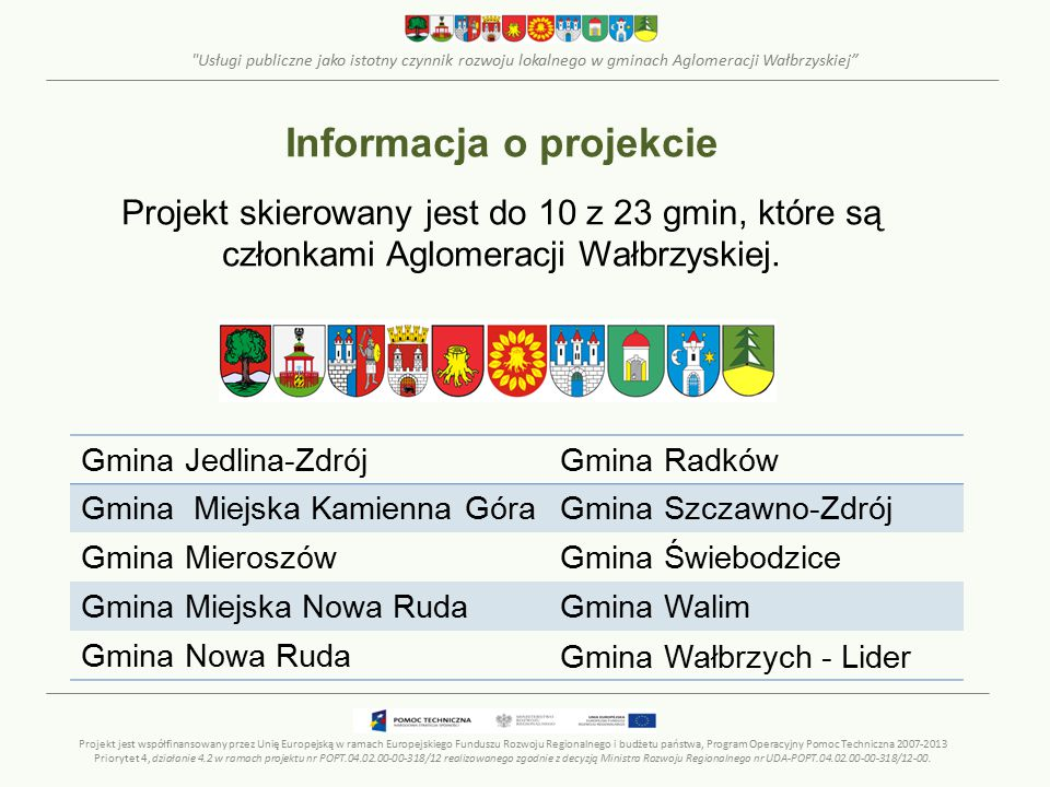 Usługi publiczne jako istotny czynnik rozwoju lokalnego w gminach Aglomeracji Wałbrzyskiej FORMULARZ – ZBIORCZY (arkusze kalkulacyjne) Projekt jest współfinansowany przez Unię Europejską w ramach Europejskiego Funduszu Rozwoju Regionalnego i budżetu państwa, Program Operacyjny Pomoc Techniczna 2007-2013 Priorytet 4, działanie 4.2 w ramach projektu nr POPT.04.02.00-00-318/12 realizowanego zgodnie z decyzją Ministra Rozwoju Regionalnego nr UDA-POPT.04.02.00-00-318/12-00.