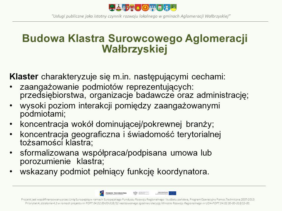 Usługi publiczne jako istotny czynnik rozwoju lokalnego w gminach Aglomeracji Wałbrzyskiej Klaster charakteryzuje się m.in.