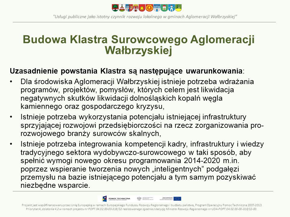 Usługi publiczne jako istotny czynnik rozwoju lokalnego w gminach Aglomeracji Wałbrzyskiej Uzasadnienie powstania Klastra są następujące uwarunkowania: Dla środowiska Aglomeracji Wałbrzyskiej istnieje potrzeba wdrażania programów, projektów, pomysłów, których celem jest likwidacja negatywnych skutków likwidacji dolnośląskich kopalń węgla kamiennego oraz gospodarczego kryzysu, Istnieje potrzeba wykorzystania potencjału istniejącej infrastruktury sprzyjającej rozwojowi przedsiębiorczości na rzecz zorganizowania pro- rozwojowego branży surowców skalnych, Istnieje potrzeba integrowania kompetencji kadry, infrastruktury i wiedzy tradycyjnego sektora wydobywczo-surowcowego w taki sposób, aby spełnić wymogi nowego okresu programowania 2014-2020 m.in.