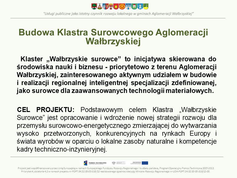 """Usługi publiczne jako istotny czynnik rozwoju lokalnego w gminach Aglomeracji Wałbrzyskiej Klaster """"Wałbrzyskie surowce to inicjatywa skierowana do środowiska nauki i biznesu - priorytetowo z terenu Aglomeracji Wałbrzyskiej, zainteresowanego aktywnym udziałem w budowie i realizacji regionalnej inteligentnej specjalizacji zdefiniowanej, jako surowce dla zaawansowanych technologii materiałowych."""