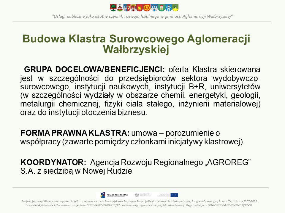 Usługi publiczne jako istotny czynnik rozwoju lokalnego w gminach Aglomeracji Wałbrzyskiej GRUPA DOCELOWA/BENEFICJENCI: oferta Klastra skierowana jest w szczególności do przedsiębiorców sektora wydobywczo- surowcowego, instytucji naukowych, instytucji B+R, uniwersytetów (w szczególności wydziały w obszarze chemii, energetyki, geologii, metalurgii chemicznej, fizyki ciała stałego, inżynierii materiałowej) oraz do instytucji otoczenia biznesu.
