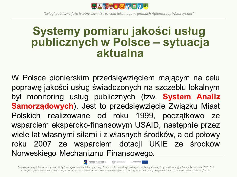 Usługi publiczne jako istotny czynnik rozwoju lokalnego w gminach Aglomeracji Wałbrzyskiej Systemy pomiaru jakości usług publicznych w Polsce – sytuacja aktualna System Analiz Samorządowych System monitoringu usług budowany jest głównie na podstawie danych, pozyskiwanych z miast drogą ankietową.