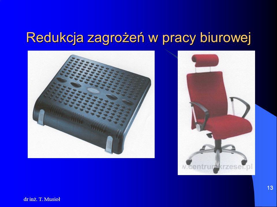 dr inż. T. Musioł 13 Redukcja zagrożeń w pracy biurowej