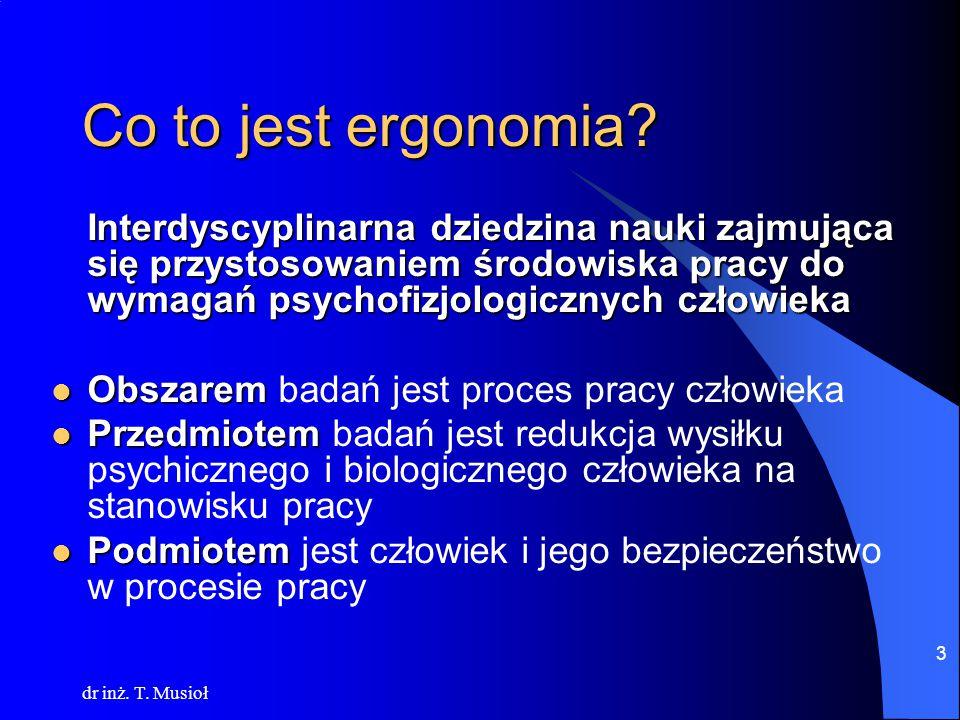 dr inż.T. Musioł 4 Co to jest ergonomia.