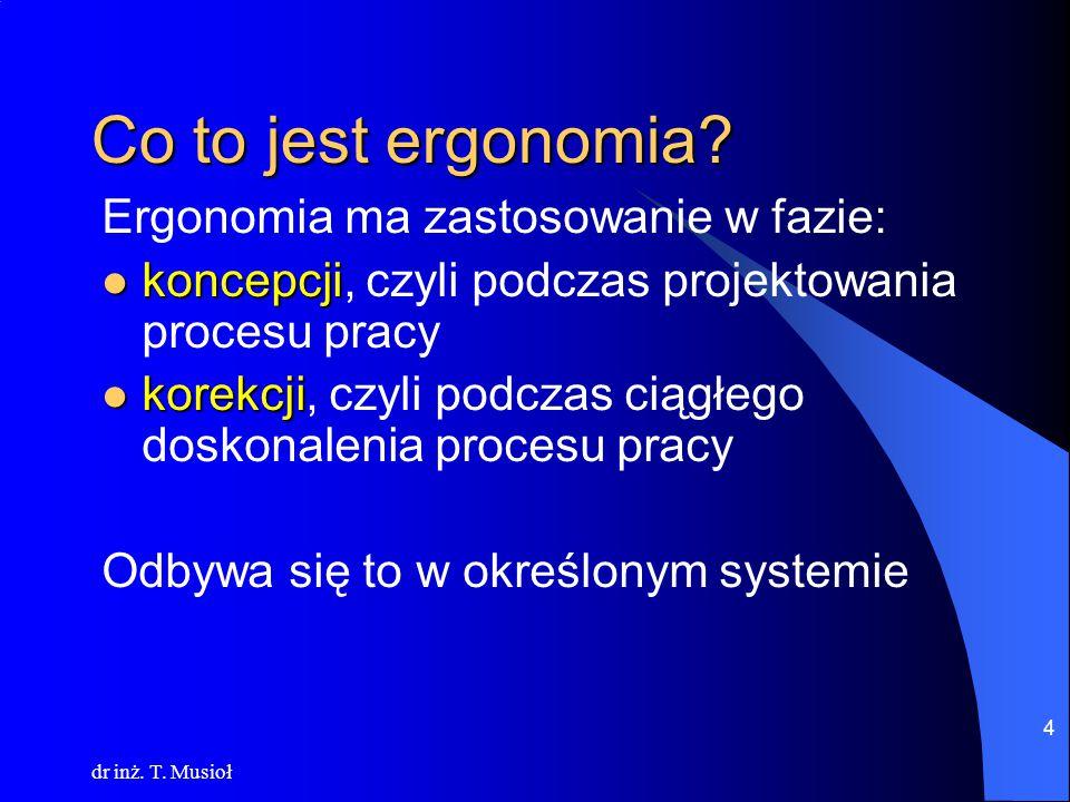 dr inż. T. Musioł 5 Co to jest ergonomia? Ideogram systemu pracy