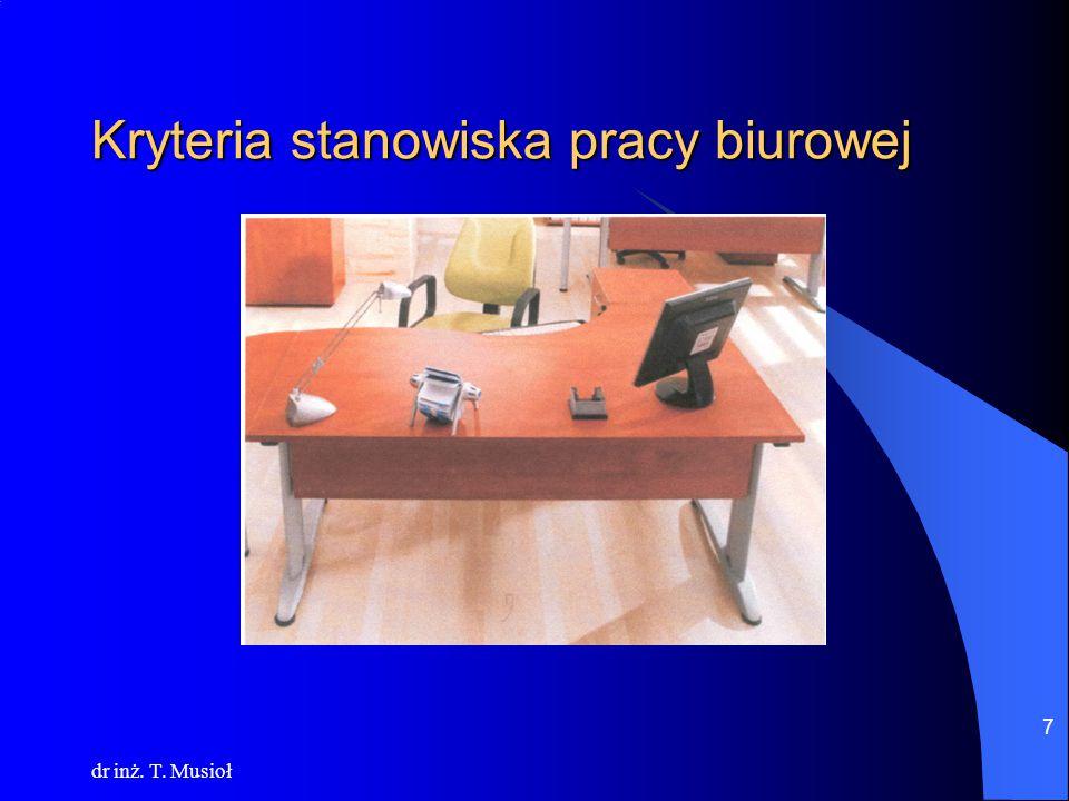 dr inż. T. Musioł 7 Kryteria stanowiska pracy biurowej