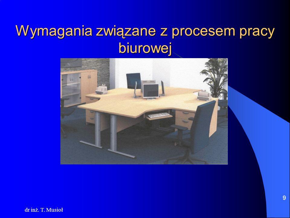 dr inż. T. Musioł 9 Wymagania związane z procesem pracy biurowej