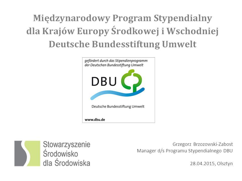 www.sds.org.pl stypendia@sds.org Otwarcie systemu aplikacji on-line: 16.06.2015 Zamknięcie systemu aplikacji on-line: 16.09.2015 Rozmowy kwalifikacyjne: 21.10.2015 Gala Jubileuszowa: 28.11.2015 -------------------------------------------------------------------------------------------------------------------- Fundacja powstała w 1991 z prywatyzacji Salzgitter AG Fundacja wsparła 8.800 projektów w obszarach - technika ochrony środowiska - badania w ochronie środowiska i przyrody - komunikacja w ochronie środowiska DBU co roku przeznacza 50 milionów euro na wsparcie projektów ochrony środowiska - innowacyjność - modelowy charakter - odciążenie środowiska Fundacja DBU