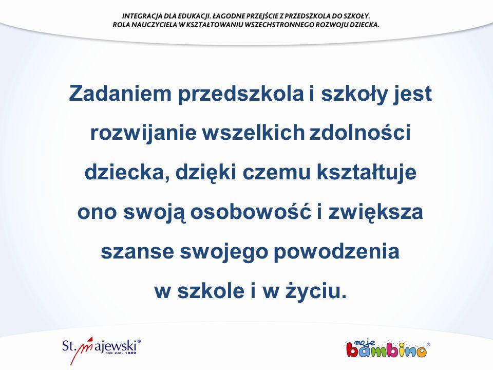 Zadaniem przedszkola i szkoły jest rozwijanie wszelkich zdolności dziecka, dzięki czemu kształtuje ono swoją osobowość i zwiększa szanse swojego powod