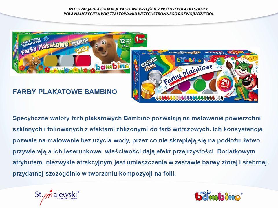 Specyficzne walory farb plakatowych Bambino pozwalają na malowanie powierzchni szklanych i foliowanych z efektami zbliżonymi do farb witrażowych. Ich
