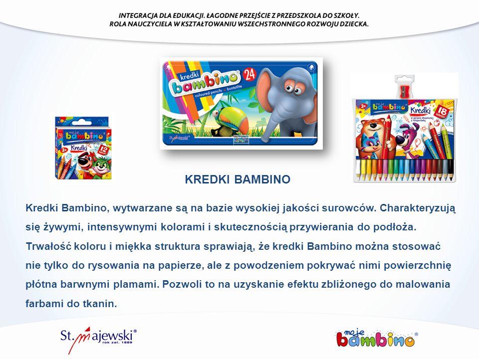 Kredki Bambino, wytwarzane są na bazie wysokiej jakości surowców. Charakteryzują się żywymi, intensywnymi kolorami i skutecznością przywierania do pod