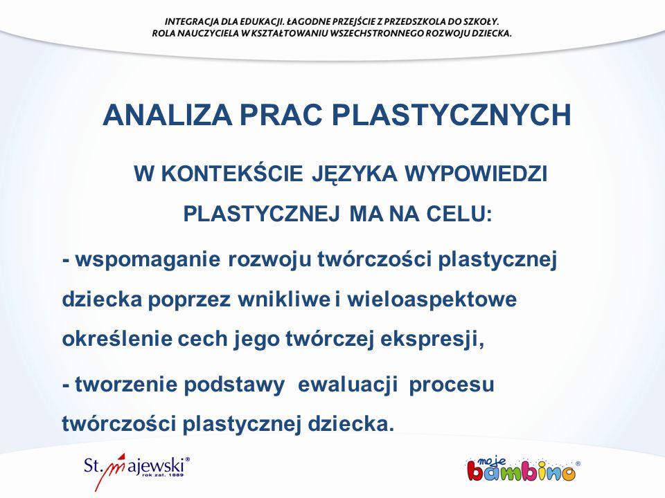 ANALIZA PRAC PLASTYCZNYCH W KONTEKŚCIE JĘZYKA WYPOWIEDZI PLASTYCZNEJ MA NA CELU: - wspomaganie rozwoju twórczości plastycznej dziecka poprzez wnikliwe