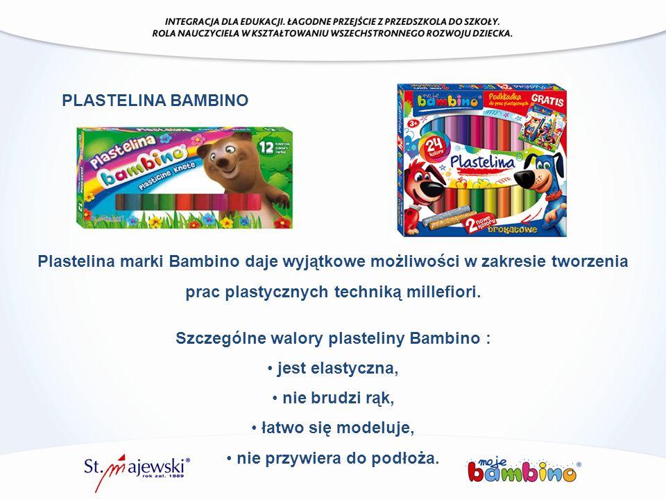 Plastelina marki Bambino daje wyjątkowe możliwości w zakresie tworzenia prac plastycznych techniką millefiori. Szczególne walory plasteliny Bambino :