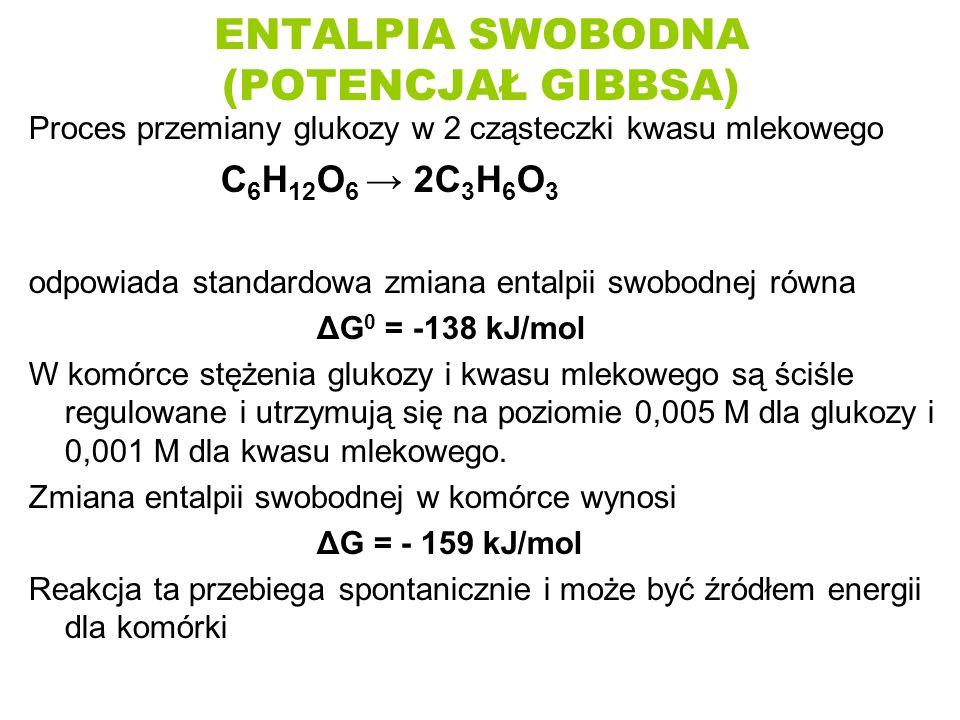 ENTALPIA SWOBODNA (POTENCJAŁ GIBBSA) Proces przemiany glukozy w 2 cząsteczki kwasu mlekowego C 6 H 12 O 6 → 2C 3 H 6 O 3 odpowiada standardowa zmiana