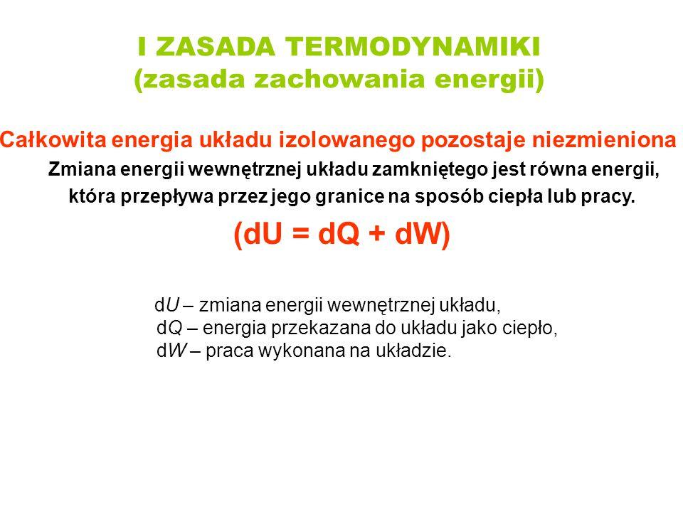 I ZASADA TERMODYNAMIKI (zasada zachowania energii) Całkowita energia układu izolowanego pozostaje niezmieniona Zmiana energii wewnętrznej układu zamkn
