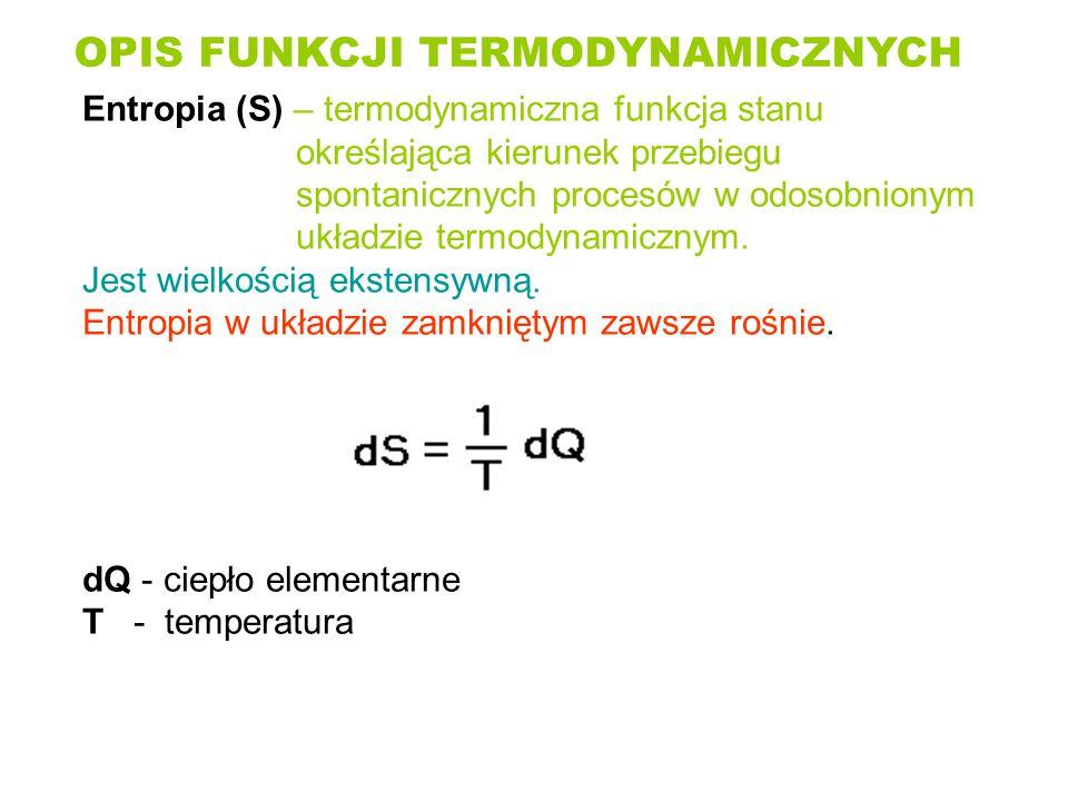 OPIS FUNKCJI TERMODYNAMICZNYCH Entropia (S) – termodynamiczna funkcja stanu określająca kierunek przebiegu spontanicznych procesów w odosobnionym ukła