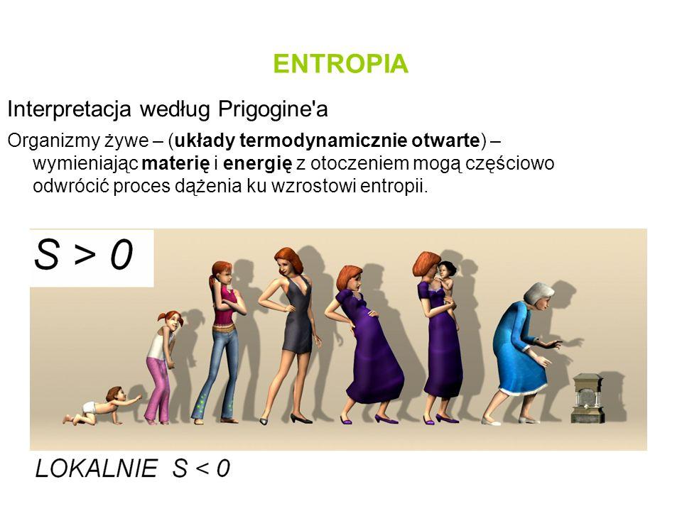 ENTROPIA Interpretacja według Prigogine'a Organizmy żywe – (układy termodynamicznie otwarte) – wymieniając materię i energię z otoczeniem mogą częścio