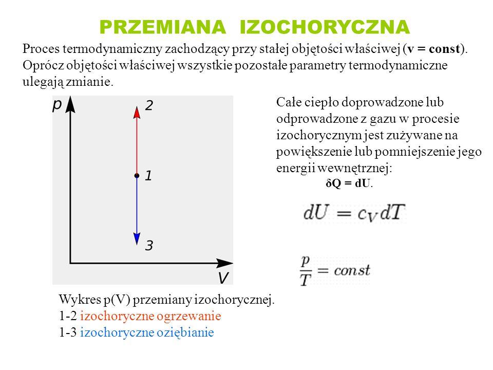 PRZEMIANA IZOCHORYCZNA Proces termodynamiczny zachodzący przy stałej objętości właściwej (v = const). Oprócz objętości właściwej wszystkie pozostałe p