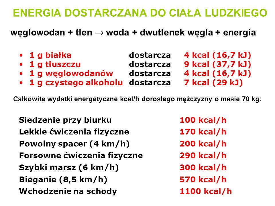ENERGIA DOSTARCZANA DO CIAŁA LUDZKIEGO 1 g białkadostarcza4 kcal (16,7 kJ) 1 g tłuszczudostarcza9 kcal (37,7 kJ) 1 g węglowodanówdostarcza4 kcal (16,7