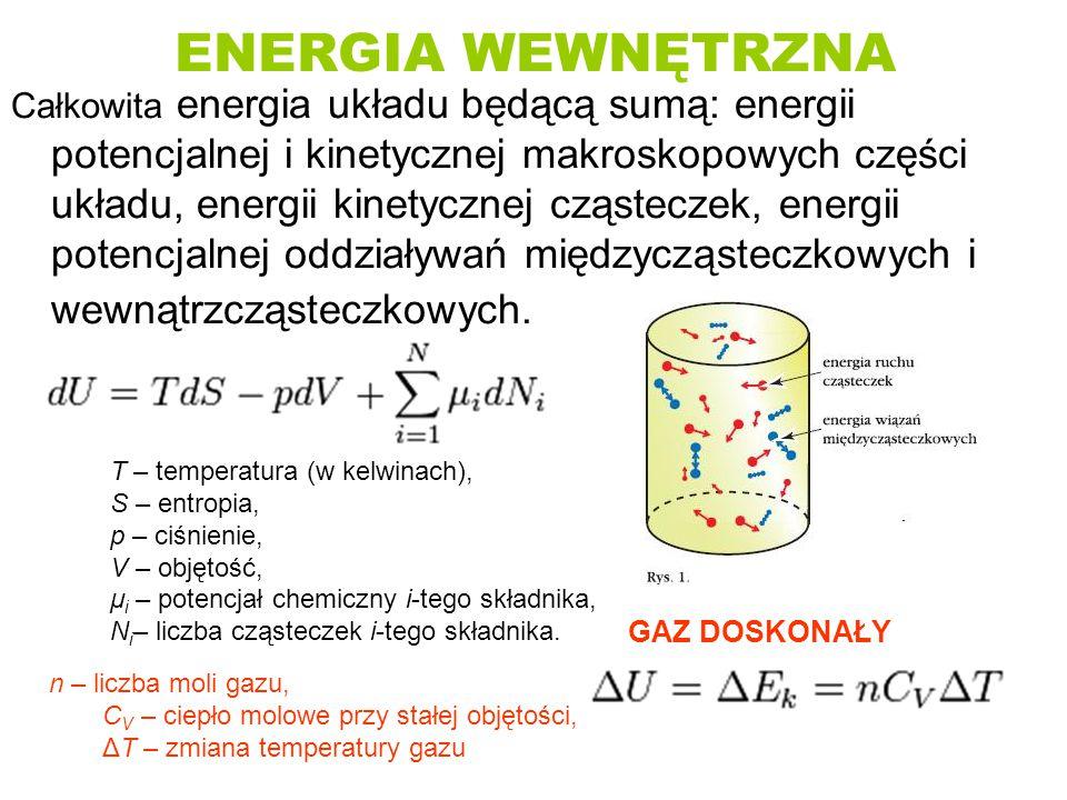 ENERGIA WEWNĘTRZNA Całkowita energia układu będącą sumą: energii potencjalnej i kinetycznej makroskopowych części układu, energii kinetycznej cząstecz