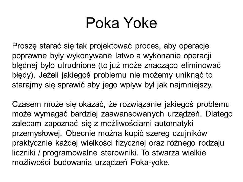 Poka Yoke Proszę starać się tak projektować proces, aby operacje poprawne były wykonywane łatwo a wykonanie operacji blędnej było utrudnione (to już może znacząco eliminować błędy).