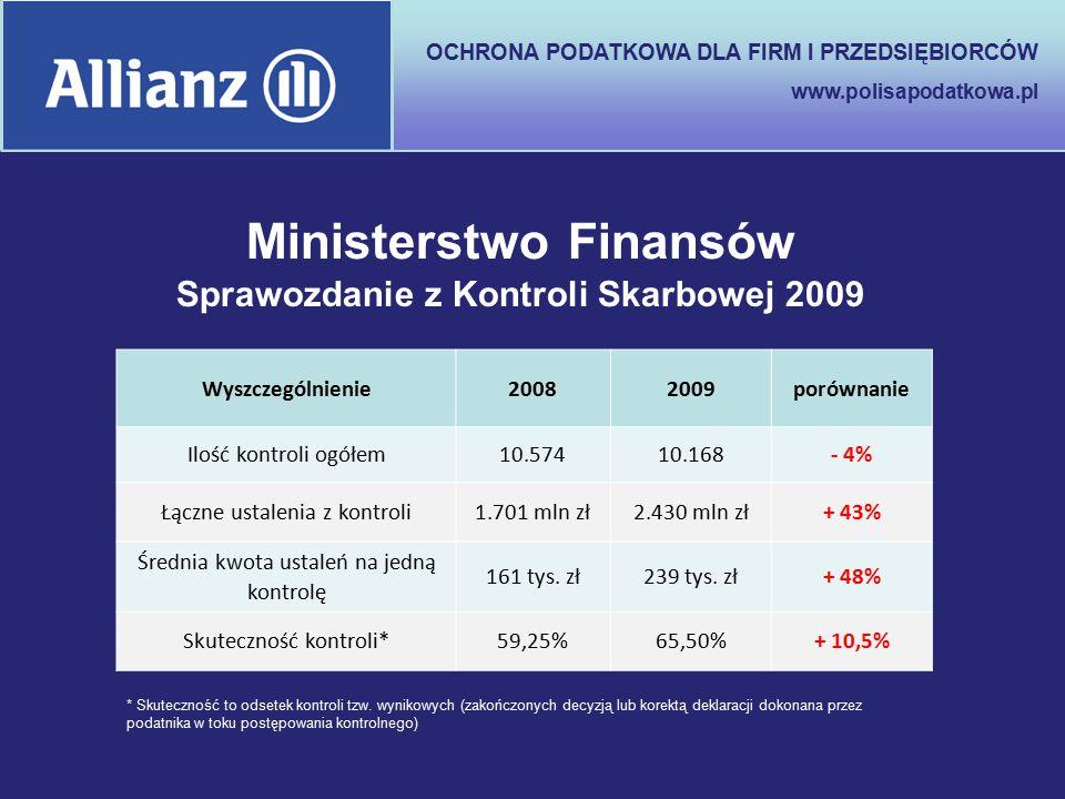 OCHRONA PODATKOWA DLA FIRM I PRZEDSIĘBIORCÓW www.polisapodatkowa.pl Ministerstwo Finansów Sprawozdanie z Kontroli Skarbowej 2009 Wyszczególnienie20082