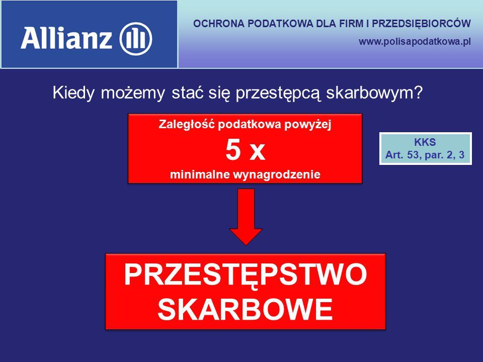 OCHRONA PODATKOWA DLA FIRM I PRZEDSIĘBIORCÓW www.polisapodatkowa.pl Zaległość podatkowa powyżej 5 x minimalne wynagrodzenie PRZESTĘPSTWO SKARBOWE KKS