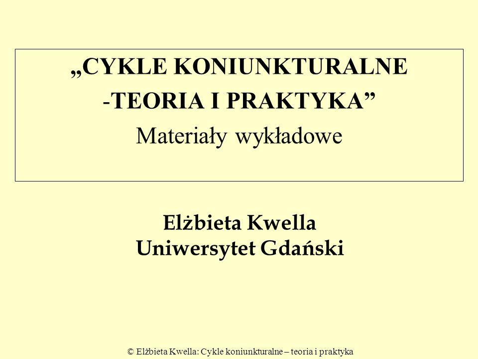 """© Elżbieta Kwella: Cykle koniunkturalne – teoria i praktyka Elżbieta Kwella Uniwersytet Gdański """"CYKLE KONIUNKTURALNE -TEORIA I PRAKTYKA"""" Materiały wy"""