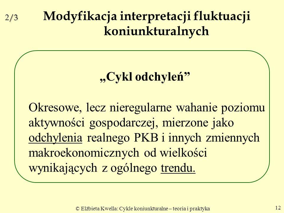"""© Elżbieta Kwella: Cykle koniunkturalne – teoria i praktyka 12 /3 2/3 Modyfikacja interpretacji fluktuacji koniunkturalnych """"Cykl odchyleń"""" Okresowe,"""