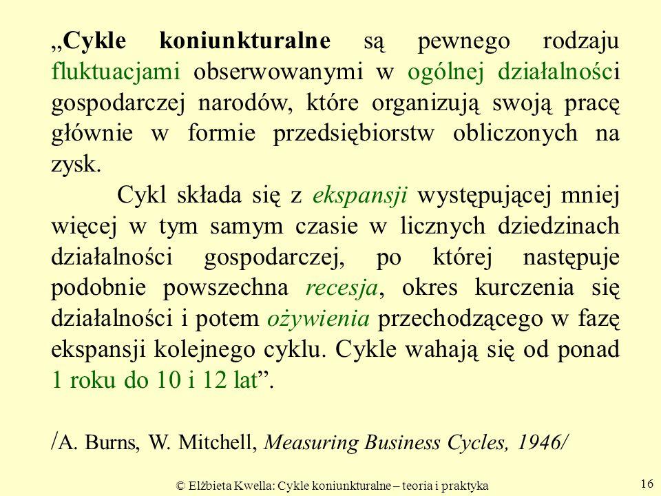 """© Elżbieta Kwella: Cykle koniunkturalne – teoria i praktyka 16 """"Cykle koniunkturalne są pewnego rodzaju fluktuacjami obserwowanymi w ogólnej działalno"""