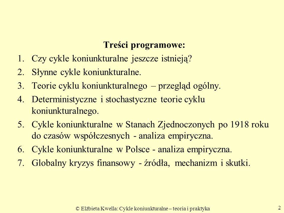© Elżbieta Kwella: Cykle koniunkturalne – teoria i praktyka Treści programowe: 1. 1. Czy cykle koniunkturalne jeszcze istnieją? 2. 2. Słynne cykle kon